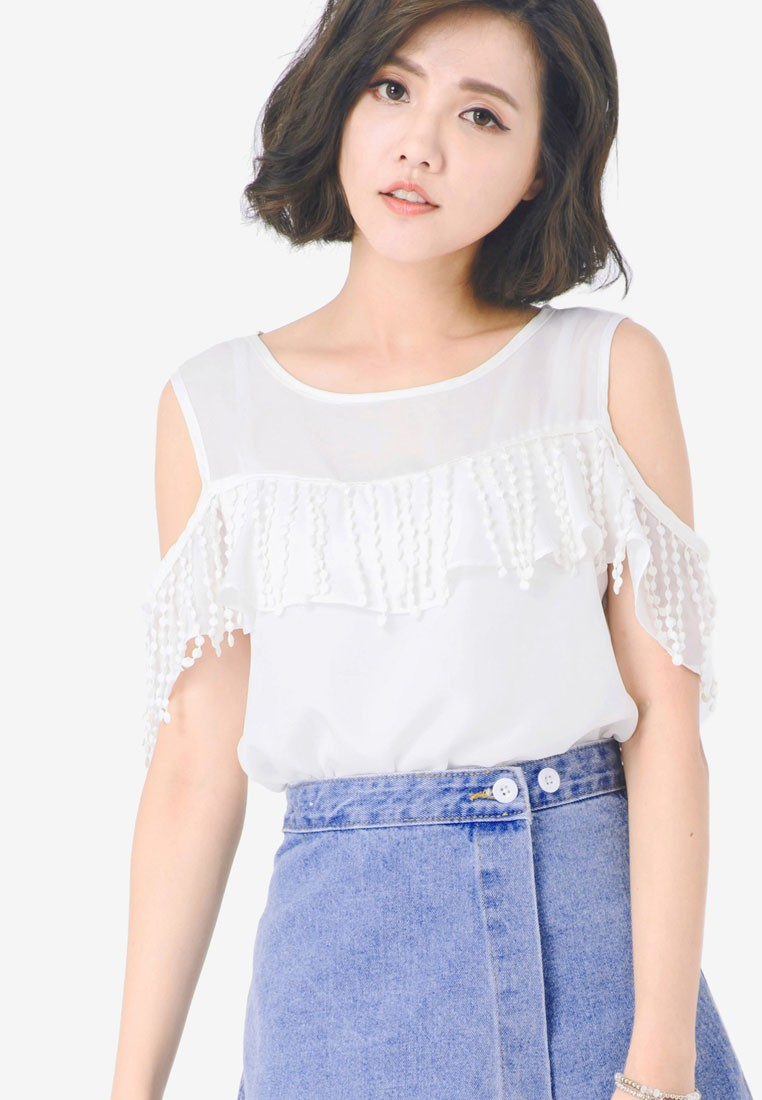 Cold Shoulder Top with Lace Fringe