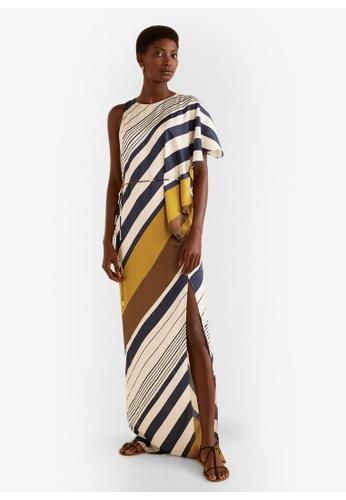 Mango blue and multi Striped Asymmetrical Dress 84C95AA42A6C14GS_1
