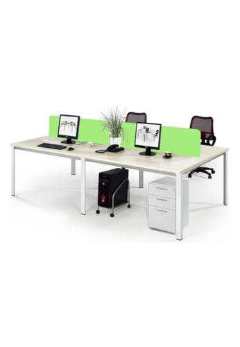 AMERCIS white Amercis Progue Open Plan 1200L Office Table for 4 E64F2HLA7001A9GS_1