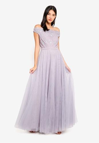 Little Mistress grey Mesh Maxi Dress 088E0AADFFB97BGS_1