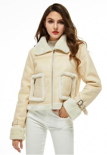 London Rag white Faux Fur Trucker Jacket 9AB9CAAC871693GS_1