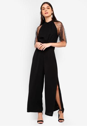 2ec72bcd76 ZALORA black Lace Sleeves Jumpsuit 8DB5FAA98122C9GS 1