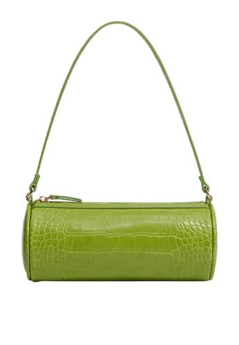 Mango green Cylinder Baguette Bag 922B6AC2F4385DGS_1