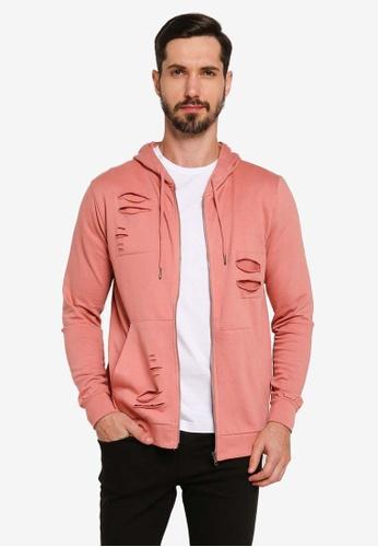 Brave Soul pink Metal Zip Through Hoodie 9E2C9AA9625594GS_1