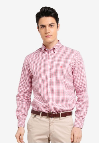 Brooks Brothers red Red Fleece Basketweave Checks with Logo Red Shirt B38FDAAFF73096GS_1