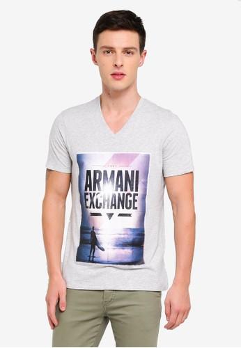 Armani Exchange grey Ocean Scape Vneck T-Shirt 1776DAAC61D4CDGS_1