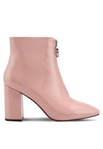 Public Desire orange Flashy Zip Front Patent Ankle Boots ECE4DSHEEC5D15GS_1