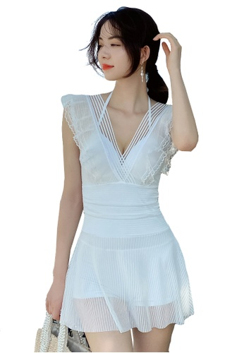 A-IN GIRLS white Sexy Gauze Big Backless One-Piece Swimsuit 1F049US9AB2156GS_1
