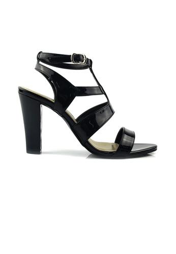 SHINE black Cut Out Cage Heel Sandals SH554SH81TAWSG_1