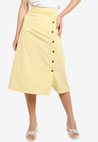 ZALORA white and yellow Button Detail Midi Slit Skirt 63D13AA01D4EC9GS_1