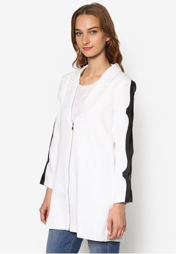 撞色滾邊鏤空長袖esprit salon hk拉鍊外套, 服飾, 女性服飾