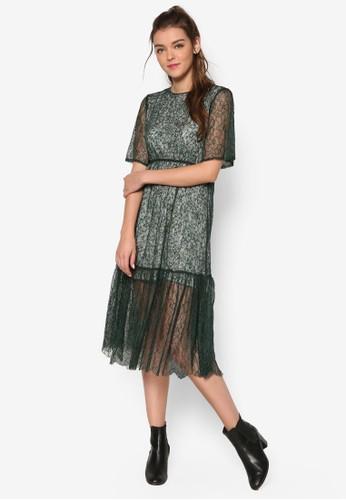 花卉內襯蕾絲連身裙,esprit手錶專櫃 服飾, 洋裝
