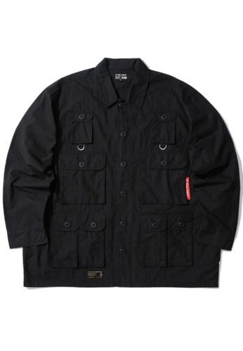izzue black Multi-pocket shirt B1737AACC73B53GS_1