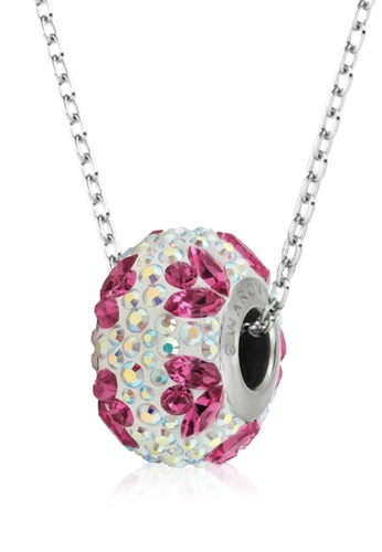 Her Jewellery white and pink BeCharmed Pave Flower Bead Pendant (White) - Made with premium grade crystals from Austria BDA4BAC7EB046CGS_1