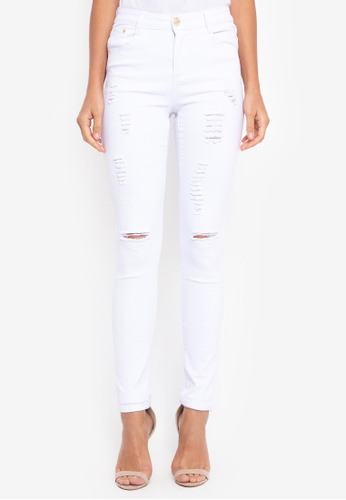 NOBASIC white White Broken Denim Pants NO444AA0GDKDSG_1
