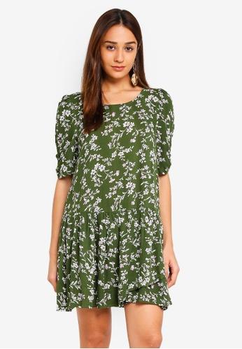 INDIKAH green Short Sleeve Shift Dress 94568AAEBB096CGS_1