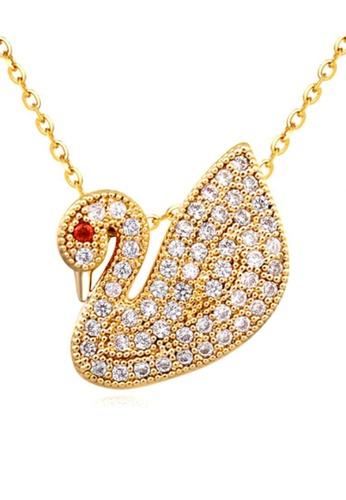LOVENGIFTS gold LOVENGIFTS Petite Swan Pendant Necklace LI189AC52XDJMY_1