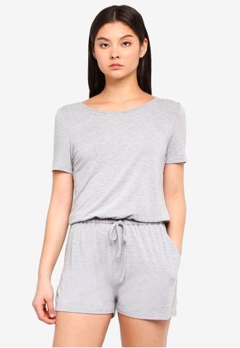 Something Borrowed grey Knit Drawstring Romper BDED0AA0B1360BGS_1
