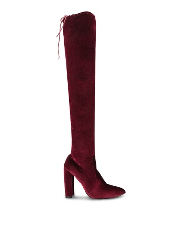 Public Desire red Annie Velvet Over The Knee Boots PU378SH0S9NNMY_1
