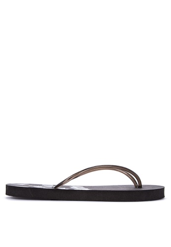 BENCH black Printed Rubber Slippers 92B7ASH84FE2D8GS_1