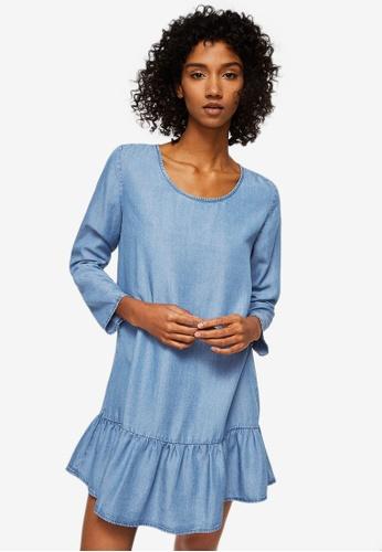 Mango blue Frills Denim Dress B3D47AAB88315BGS_1