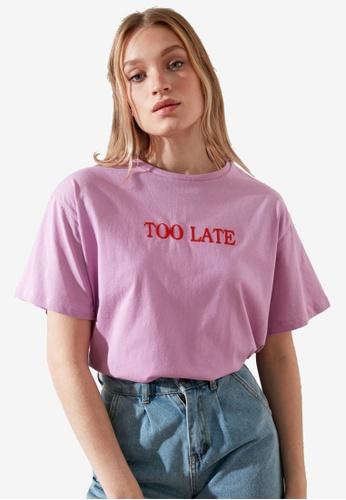 Trendyol purple Boyfriend T-Shirt 0D86FAA87DD340GS_1