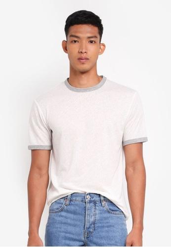 MANGO Man white Slub Linen-Blend T-Shirt DEA40AA2860273GS_1
