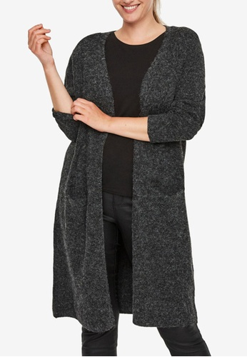 Vero Moda 黑色 大尺碼 Doffy 長袖 Open 罩衫 1FE7FAA8EA47ACGS_1