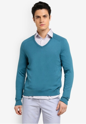 Brooks Brothers blue Red Fleece Cotton Cashmere V-Neck Colonial Blue Cardigan 68037AA78256F5GS_1