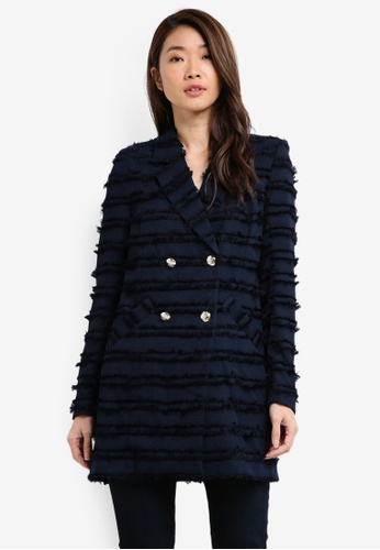 River Island navy Fringed Double Breasted Jacket 43B2CAAB354160GS_1