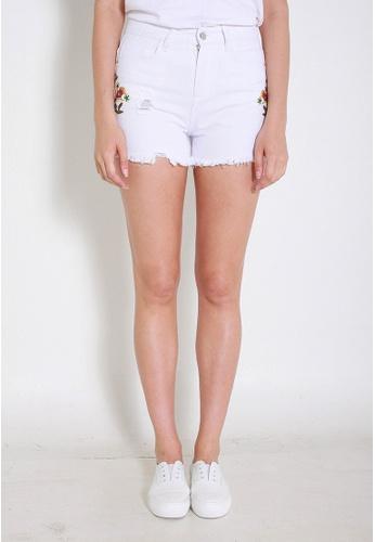 Leline Style white Elsa Embroidery Shorts LE802AA0FM4MSG_1