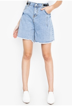 4b0999d36bca79 Balaynor blue Garterized Wide Denim Shorts D1613AA64C671EGS_1