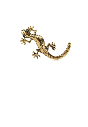 Glamorousky green Fashion Personality Plated Gold Gecko Brooch with Green Cubic Zirconia BACD2ACF6C9284GS_1