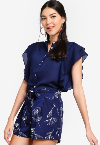 ZALORA navy Button Down Ruffle Blouse BC6EEAA58E8F7DGS_1