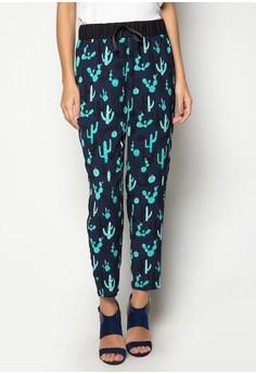 Cactus Print Drawstring Pajama Pants