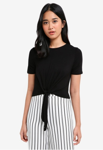 Miss Selfridge black Black Tie Front T-Shirt 9DA84AA2E2896BGS_1