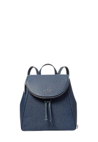 Kate Spade blue Kate Spade Medium Leila WKR00418 Flap Backpack In Denim B1F25ACFC7B60EGS_1