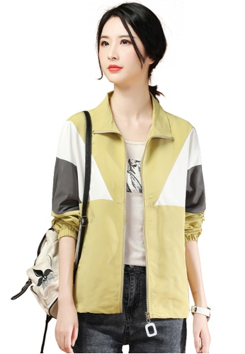 A-IN GIRLS yellow Casual Colorblock Coat C31A8AA730AFB3GS_1