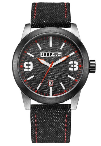 Jeep Spirit Casual Denim Multifunction Watch Jeep JPS70302 Jeans Silver Black