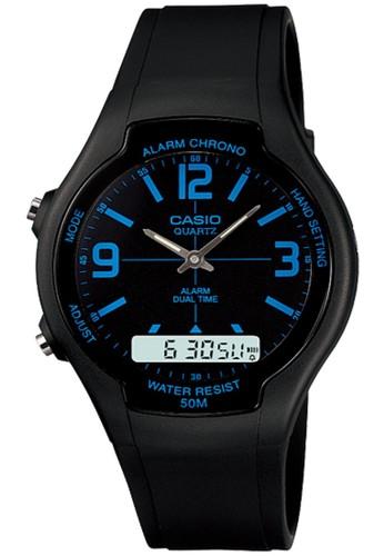 Casio black Casio Analog Digital Jam Tangan Pria Hitam Strap Karet - AW-90H- 80f99eb55d