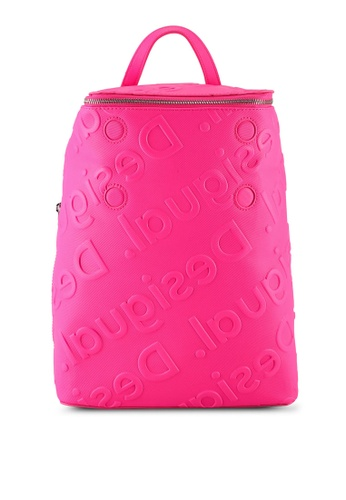Desigual pink Logo Embossed Backpack BE13BAC287E6A5GS_1