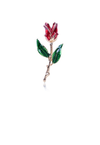 Glamorousky silver Fashion Simple Plated Gold Red Flower Brooch 7C4E9ACCD10952GS_1