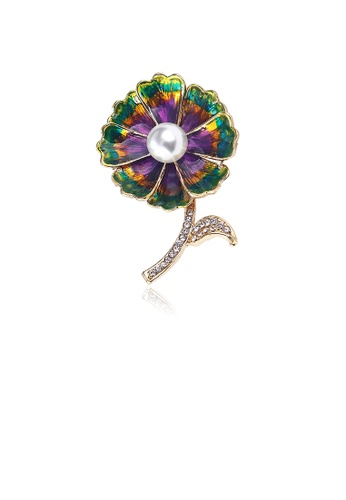 Glamorousky white Fashion and Elegant Plated Gold Enamel Color Flower Imitation Pearl Brooch with Cubic Zirconia 62A9BACCF0FB7DGS_1