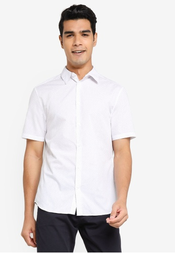 H&M white and multi Slim Fit Shirt DB66AAACB84EA4GS_1