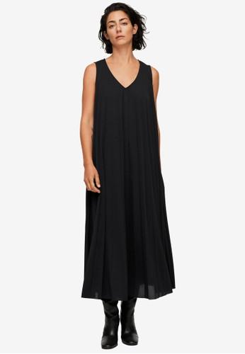 Mango black Flowy Pleated Dress 78760AA2484E87GS_1