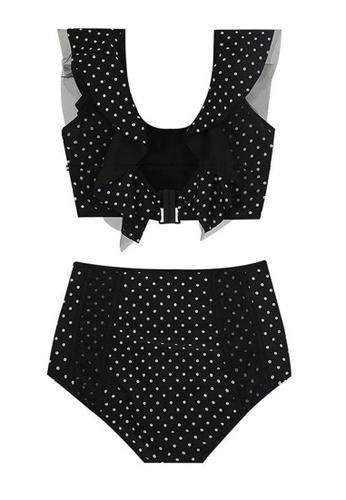 Halo black Dot Printed Swimsuit Bikini 3B87AUSDFDBC1EGS_1