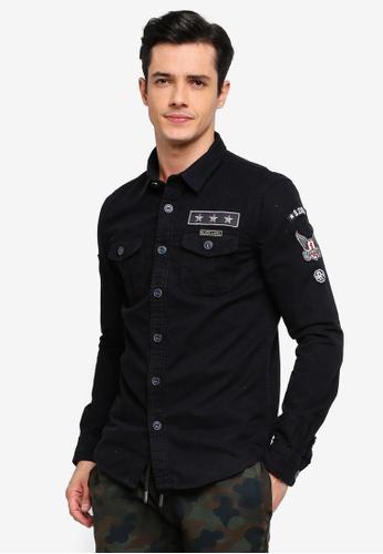 Superdry 黑色 質感襯衫 7DFC2AA0D88846GS_1