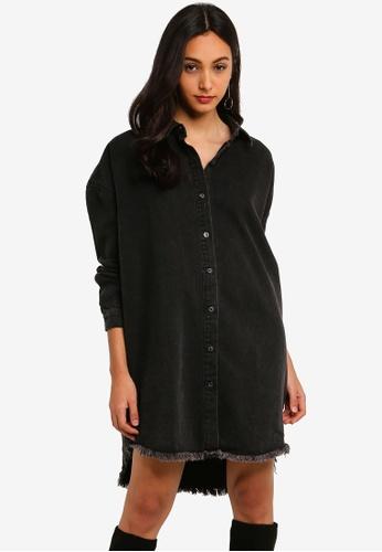 3f1176bf8d7 Buy MISSGUIDED Black Oversized Denim Shirt Dress Online on ZALORA ...