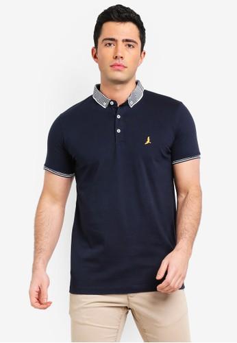 Brave Soul multi and navy Split Hem Polo Shirt C02E1AABA312DCGS_1
