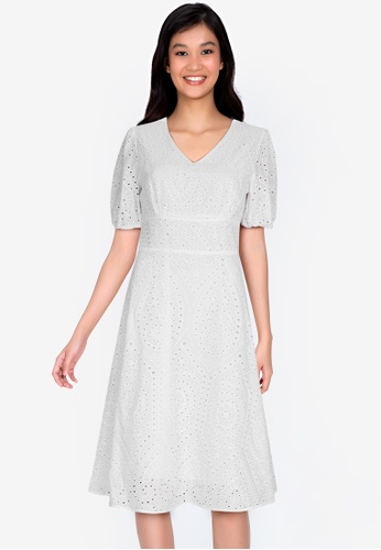 ZALORA BASICS white Embroidered Cotton Dress 1732FAA106F77FGS_1